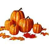 winemana Thanksgiving Artificial Pumpkin Decoration, Realistic Foam Yellow Pumpkin with 100 pcs Maple Leaves Made of Cloth, S