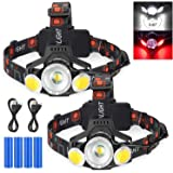 2020 Newest Rechargeable LED Headlamp, 2 Pack 10000 Lumen Super Bright Zoomable Headlight, 4 Modes USB Recharge Flashlight, W