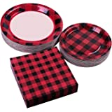 Aneco 150 Pieces Buffalo Plaid Party Supplies Party Tableware Disposable Paper Plates and Napkins for 50 Guests