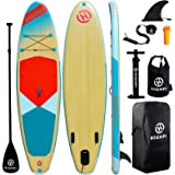 Highpi Inflatable Stand Up Paddle Board Premium SUP Accessories & Backpack, Wide Stance, Surf Control, Non-Slip Deck, Leash,