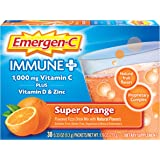 Emergen-C Immune+ Vitamin C 1000mg Powder, Plus Vitamin D And Zinc (30 Count, Super Orange Flavor, 1 Month Supply), Immune Su