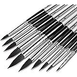 Artist Watercolor Brushes 10pcs, Round Paint Brush Set Pointed Tip Soft Anti-Shedding Black Hair, Comfortable Short Handle, P