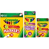 Crayola Classic Bundle: 3 Items - Crayons (24 Count), Broad Line Markers (10 Count), Colored Pencils (12 Count)
