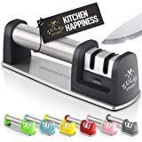 Zulay Kitchen Premium Quality Knife Sharpener For Straight And Serrated Knives Stainless Steel Ceramic And Tungsten - Easy Ma