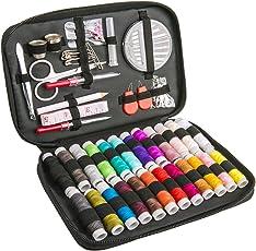 Luxebell 裁縫セット ソーイングセット 24色縫い糸あり 携帯式 ポータブルミシンアクセサリー 家庭用 大人用 裁縫道具 セット(ブラック収納バッグ付き)