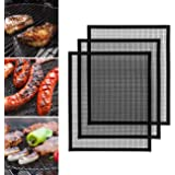 GWHOLE BBQ Grill Mesh Mat, 3 PCS Non-Stick BBQ Grill Mesh Reusable Teflon Grilling Net Barbecue Mat for Grilling, Cooking, Ba