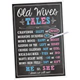 Katie Doodle Premium Baby Old Wives Tales Poster, Pregnancy Gender Reveal Party Decoration and Accessories for Boys and Girls