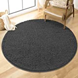 MAYSHINE Absorbent Microfiber Chenille Dog Door Mat, Durable, Quick Drying, Washable, Prevent Mud Dirt (Round 34 inches, Char