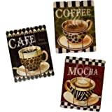 Coffee House Cup Mug Cafe Latte Java Mocha Wooden Hanging Wall Art Home Decor, Set of 3 Modern Paintings for Office Bedroom K