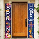 Holy Week Easter Day Porch Sign, He is Risen Spring Decoration Hanging Banner for Front Porch Door Home Indoor Outdoor, Decor