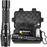 PHIXTON Rechargeable Tactical Flashlight, High Lumens L2 LED Torch, Powerful Handheld Big Flash Light, Shockproof Waterproof