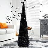 5' Black Tinsel Pop-Up Artificial Halloween Christmas Tree,Collapsible Pencil Halloween Christmas Trees for Halloween Christm