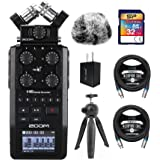 Zoom H6 All Black 6-Track Portable Audio Recorder Bundle with 32GB SDHC Memory Card, Blucoil 2-Pack of 10-FT Balanced XLR Cab