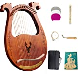 Lyre Harp, 16-String Harp Solid Wood Mahogany Lyre Harp with Tuning Wrench, Pick,Strings, Black Gig Bag and Instruction Manua