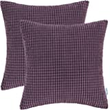 Pack of 2 CaliTime Comfy Throw Pillow Covers Cases for Couch Sofa Bed Comfortable Supersoft Corduroy Corn Striped Both Sides