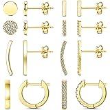 FIBO STEEL 8 Pairs Stainless Steel Cute Disc Bar Crawler Stud Earrings for Women CZ Minimalist Cuff Huggie Hoop Earring Set