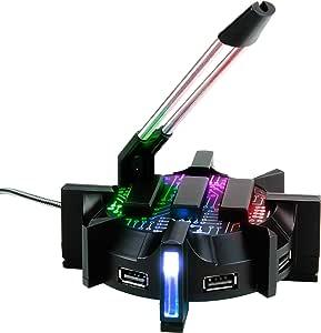 ENHANCE Proゲーム用マウスバンジー・ケーブルホルダー・7タイプのLED点灯モード・4ポートUSBハブ ENHANCE ENHANCE Gaming Mouse Bungee ゲーム用 LED・ハブ ENPCGHB100BKEW