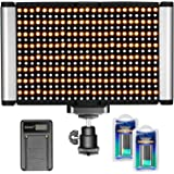 Neewer Dimmable Camera Video Light Kit: Bi-Color 280 LED Panel CRI 96+ 3200-5600K,2 Pieces Rechargeable Li-ion Battery and US