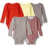 Hanes Ultimate Baby Unisex-Baby BF2BS5 Flexy 5 Pack Long Sleeve Bodysuits Bodystocking - Multi
