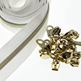 No.5 Nylon Coil Zippers by The Yards Light Gold Metallic Teeth White Tape with 25 PCS Zipper Sliders DIY Zippers for Sewing T