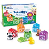Learning Resources Peekaboo Learning Farm, Counting, Matching & Sorting Toy, Toddler Finger Puppet Toy, 10 Piece Set,  Kids,