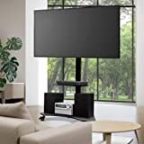 """Artiss TV Stand Mobile Floor Standing TV Mount Bracket Shelf for 32"""" to 70"""" ±35 Swivel Standing Tempered Glass Shlef Height W"""