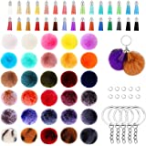 150 Pieces Pom Pom Keychain Fluffy Faux Fur Pompoms Keychain with Tassels and Keyrings for Bag Charm Accessories