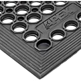 NoTrax T30 General Purpose Rubber Competitor Safety/Anti-Fatigue Mat for Wet Areas, 3' Width x 5' Length, Black, 1
