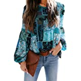 Astylish Women's Patchwork Boho Floral Print Long Balloon Sleeve Round Neck Flowy Casual Blouse Tops