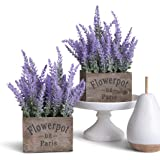 Butterfly Craze Artificial Lavender Plant with Silk Flowers for Wedding Decor and Table Centerpieces, Plastic, Purple, Lavend
