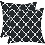 TAOSON Pack of 2 Soft Canvas Throw Cushion Cover Pillow Covers Cases for Couch Sofa Home Decor Modern Quatrefoil Accent Geome