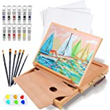 Falling in Art Portable Beechwood Painting Table Sketch Easel - 12 Tube Acrylic Colors, 12''x9'' Canvas Panels, 5 Nylon Brush