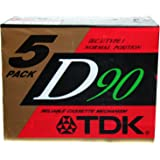 TDK D90 - Blank Audio Cassette Tape - Low Noise High Output - 5 Pack