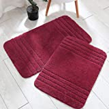 30x18 Inch/24X17 Inch Bath Rugs 2pcs Set Made of 100% Polyester Extra Soft and Non Slip Bathroom Mats Specialized in Machine