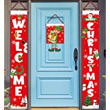 3 Pieces Christmas Decorations Banner - Welcome Christmas Porch Sign Elf Decor Xmas Hanging Front Door Indoor Outdoor Holiday