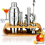 Merch N Purch Cocktail Shaker Set 10-Piece 750ml Stainless Steel Bartender Kit with Stylish Bamboo Stand for Pleasant Drink M