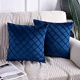 Phantoscope Pack of 2 Navy Blue Soft Cozy Velvet Folder Throw Pillow Solid Square Cushion Cover 18 x 18 inches 45 x 45 cm