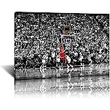 マイケルジョーダンバスケットボール選手のポスターキャンバスウォールアートプリント絵画現代のスポーツマンアートワーク最高の選手の写真壁の装飾のために掛ける準備ができて (12x18 インチ,木枠)