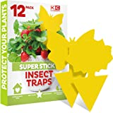Fruit Fly Traps Indoor (12 Pack), Yellow Sticky Traps for Gnats, Gnat Killer for Indoor - Fruit Fly Trap for Kitchen - Fungus