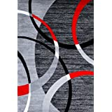 3895 Gray Swirls 5'2 x 7'2 Modern Abstract Area Rug Carpet