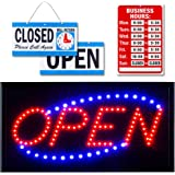 LED Open Sign for Business Displays: Electric Light Up Sign Open with 2 Flashing Modes | Great for Shops Hotels Liquor Stores