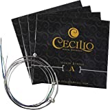Cecilio 4 Packs of Stainless Steel 4/4-3/4 Violin Strings Set (Total 16 Strings)