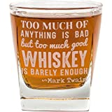 Mark Twain Quote Whiskey Cocktail Glass, 10 oz