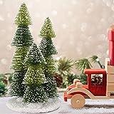 Tabletop Mini Christmas Tree Decor, 12.4' Small Artificial Pine Christmas Tree with Snow Wood Base, Xmas Ornaments Tabletop D