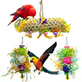 SHANTU 3Pack Bird Chewing Toys Foraging Shredder Toy Parrot Cage Shredder Toy Bird Loofah Toys Foraging Hanging Toy for Cocka
