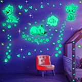 Glow in The Dark Cat Stickers with Dog and Fish, Wall Decals Sticker for Kids Bedding Room, Great for Birthday Gift Glowing C