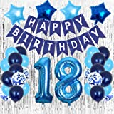 18 Birthday Decorations, Blue 18th Birthday Decorations Boys Girls Party Supplies, Happy 18th Birthday Balloons with Foil Fri