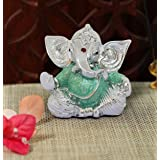 TIED RIBBONS Silver Plated Ganesh Ji Murti Idol Figurine Statue (2.75 inch X 2 Inch) - Ganesha Idol for Home Décor car Dashbo