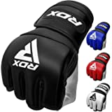 RDX MMA Gloves for Martial Arts Grappling Training, D. Cut Open Palm Maya Hide Leather Sparring Mitts, Good for Muay Thai, Ki