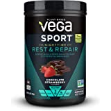 Vega Sport Nighttime Rest & Repair US Chocolate Strawberry (15 servings, 15oz) - Vegan Plant-Based Workout Fuel with Protein,